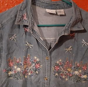 Embroidered denim button up